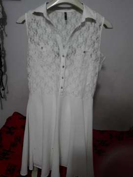 vestido blanco perla  xl usado 10/10