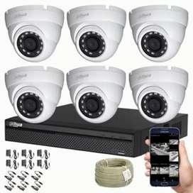 Kit Dahua CCTV DVR 8 ch más 6 Cámaras de seguridad tipo Domo 720p