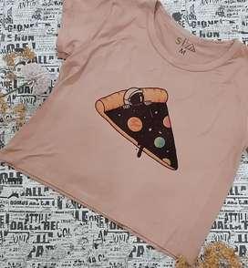 BLUSA CROPTOP ROSA PIZZA SPACE TALLA M