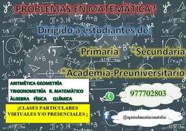 Clases particulares de matemàtica presenciales y virtuales ,a un precio acesible¡le