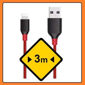 Cargador Cable de 3 Metros P/ Iphone Ipad air Iphone 6s Iphone 5s Iphone 8 Iphone 7 -