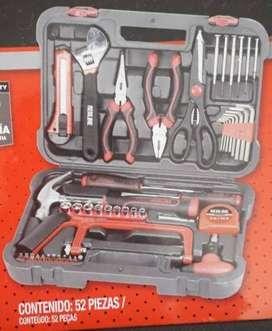 kit herramientas 52 piezas con maleta (martillo y más)