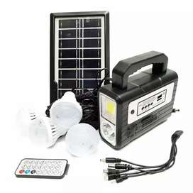 Panel solar +4 bombillos +luz +power bank radio autos