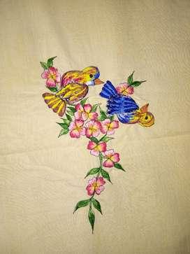 Vendo antiguo mantel bordado a mano con 8 servilletas