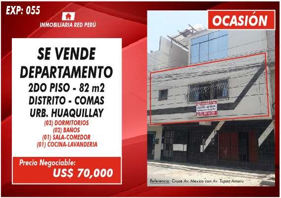 OCASIÓN VENTA DE DEPARTAMENTO - 2DO PISO - 82 M2 - COMAS 0