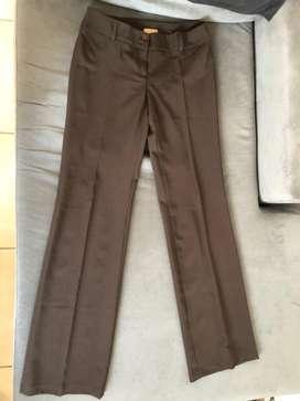Pantalón recto de mujer marrón