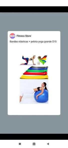Bandas elásticas+ pelota yoga grande