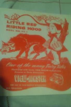 View-Master Reel # FT-1 de Little Red Riding Hood Sawyer's 1950 con Bookl cuento de hadas