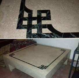 Mesa de living de marmol travertino