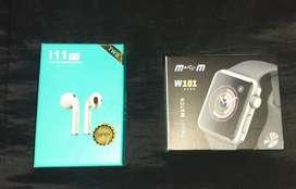 Airpods i11 5.0 TWS + Smartwhatch W 101 MYM Mobile bluetooth color gris