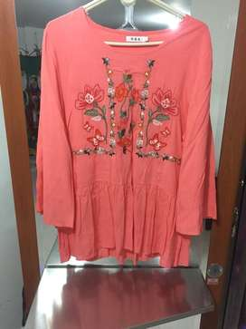 Venta de camisa manga larga color salmon