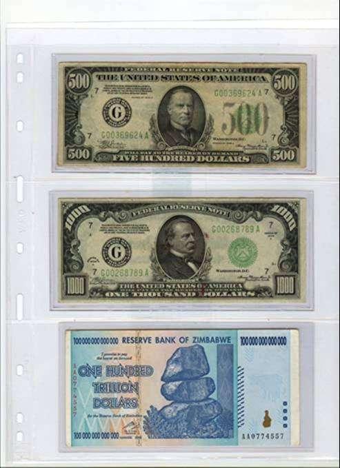 Páginas de Milar – PET para guardar billetes, Marca Lighthouse (Paquete X5)