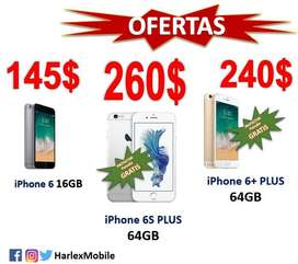OFERTA BLACKWeekend! iPhone 6/6S PLUS 64GB LIBRES LTE TouchID 100% funcionales*LOCAL COMERCIAL*Originales