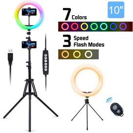 Aro Luz Led 10 PuLG. Rgb 10 Colores Trípode Soporte Teléfono