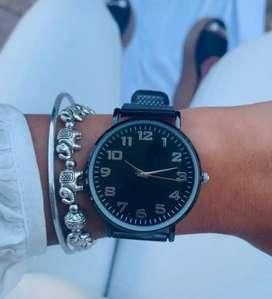Reloj Pulsera Unisex Malla Tejida Simil Metal Negro.