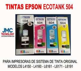 Tinta Ecotank Epson 504 kit 4 colores