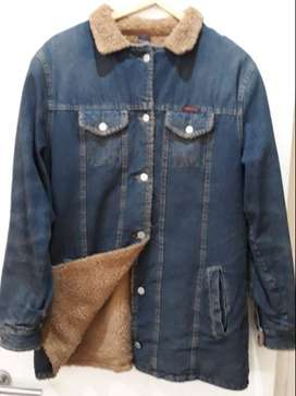 Campera  De Jeans Con Interior De Corderito Talle Xl