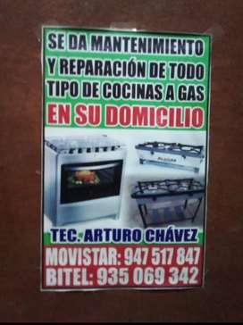 Mantenimiento y reparación de cocina a gas