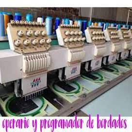 operario bordadora industrial y programador
