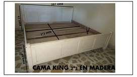 VENDO CAMA KING 2*2 USADA  MADERA CEDRO