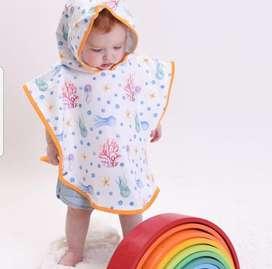Ponchitos de toalla de microfibra con capucha para bebes de 9 a 24M