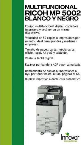 Vendo fotocopiadora multifuncional RICOH MP5002 Blanco y Negro