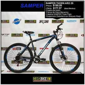 Bicicleta Montañera SAMPER THORN ARO 29 Frenos de Disco Mecánico y Suspensión con bloqueo (NEGRO-AZUL)