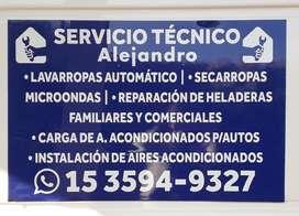 SERVICIO TECNICO LAVARROPAS, HELADERAS, AIRE ACOND. MICROONDAS, SECARROPAS