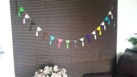 Festón, guirnalda tejida a crochet multicolor