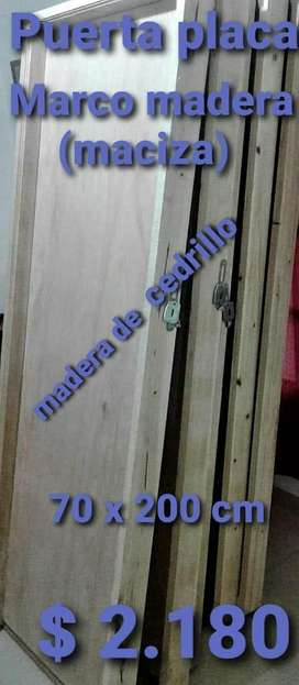Puerta Placa Marco de Madera