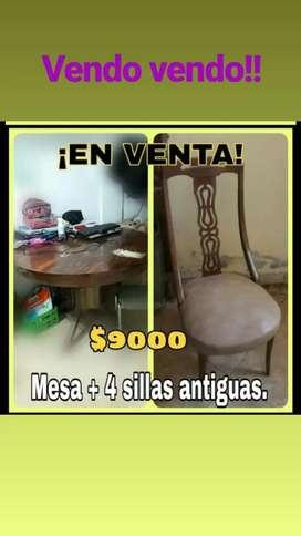 Mesa antigua + 4 sillas