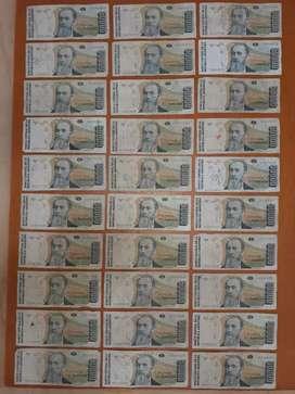Billetes antiguos de 50000 Autrales