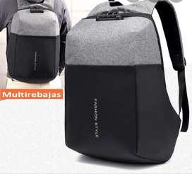 Mochila Antirrobo Fashion Style  Impermeable Con Entrada USB Candado
