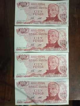 Billetes de 100 pesos ley 18.188.