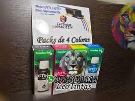 Tintas para Impresoras Hp modelos GT calidad Packs Four colors