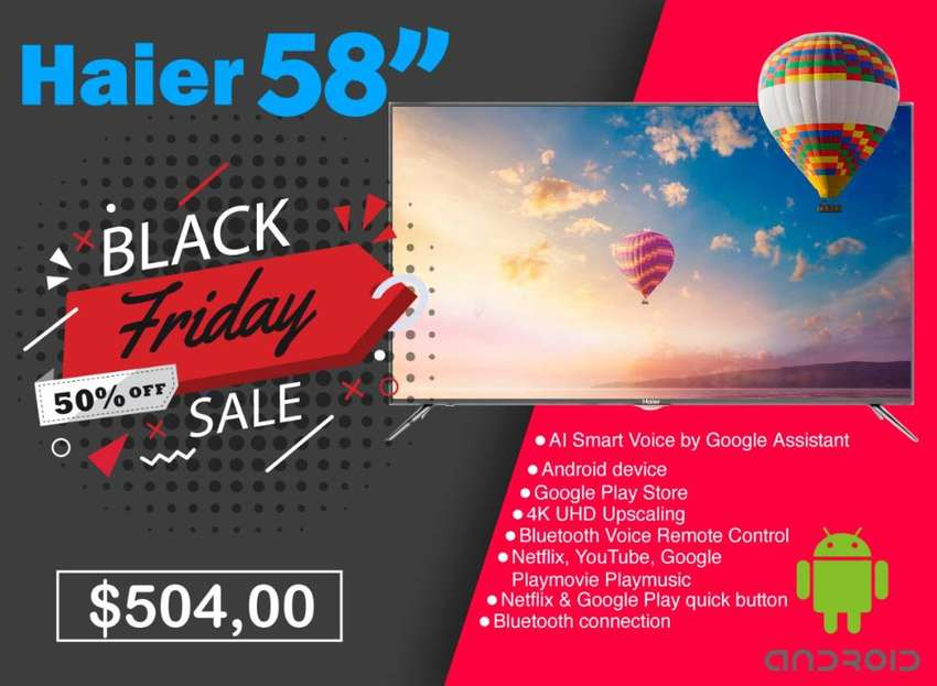 """TELEVISOR HAIER 58"""". 4K UHD. TV LED. SMART. CON ANDROID. GENERAL ELECTRIC. QUITO. GUAYAQUIL. 55"""" PULGADAS 0"""