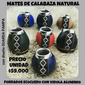 """MATES DE CALABAZA NATURAL FORRADOS EN ECOCUERO CON VIROLA DE ALUMINIO CON DISEÑO """" GUARDA PAMPA"""""""