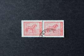 BLOCK 2 ESTAMPILLAS ARGENTINA, 1959, CABALLO CRIOLLO, USADAS