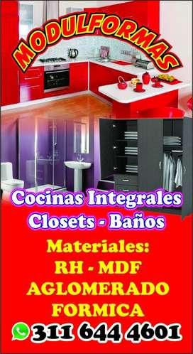 Cocinas, Closet, Baños
