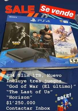 Se Vende PS4 Slim 1TB, con tres super juegos