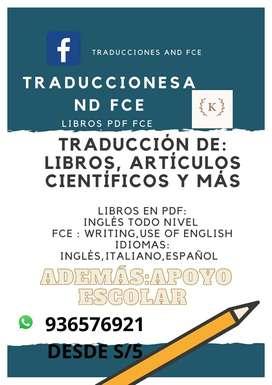 TRADUCCIONES,LIBROS ,CLASES PARTICULARES INGLÉS ESCOLAR