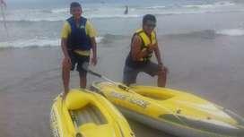 2 kayak inflables de lona con remos