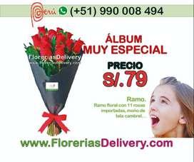 Ramo con 11 rosas importadas, acompañado de finos follajes...Código: Olx M R.A.-0017