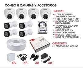 COMBO 8 CÁMARAS DE SEGURIDAD DE 2MPX