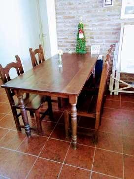 Mesa de comedor de algarrobo estilo campo 1,60 x 0,80 mas sillas de regalo