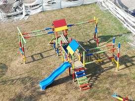Venta de juegos infantiles en madera columpio resbalador túnel balancín