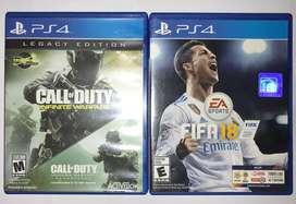 Juegos PS4 - FIFA 18, COD INFINITY WARFARE