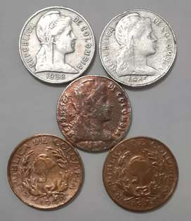 Vendo lote de monedas antiguas de II Centavos de Colombia