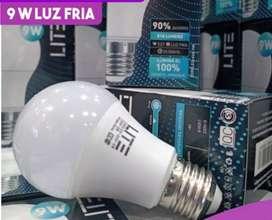 Pak 10 lámparas led 9 w luz fria