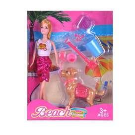Muñeca tipo barbie con mascota y accesorios Nueva!